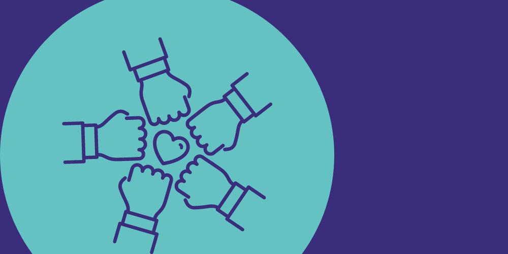 4 Hände halten sich Teaser Ehrenamtliche