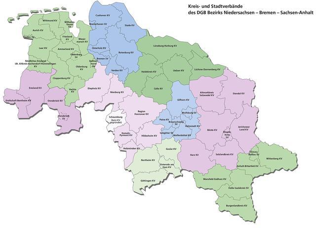 Karte der DGB-Kreis- und Stadtverbände